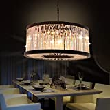 Round Crystal Prism Chandeliers Black Finish Pendant Hanging Lights Vintage Chandelier Lighting for Home Restaurant Decoration D27.6''H15.7'' CZ2531/8