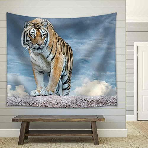 Siberian Tiger Ready to Attack Looking at You in The Rocks Background Fabric Wall