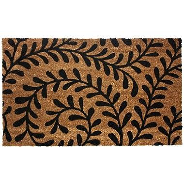 J & M Home Fashions Vinyl Back Coco Doormat, 18 by 30-Inch, Black Ferns