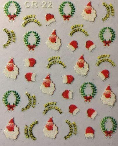 (Nail Art 3D Stickers Glitter Decals Merry Christmas Santa Wreath Mittens CR22)