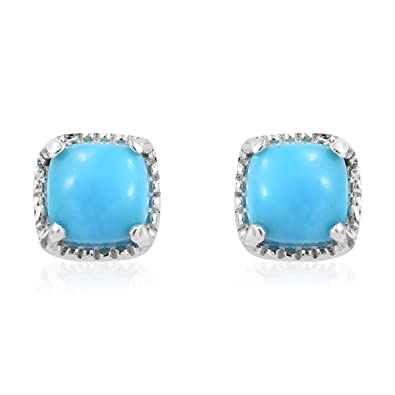 f15983f73 Amazon.com: 925 Sterling Silver Cushion Sleeping Beauty Turquoise Stud  Solitaire Earrings Gift Jewelry for Women: Jewelry