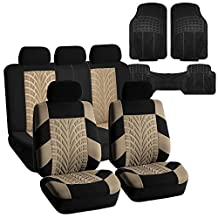 FH GROUP FH-FB071115 Complete Set Travel Master Seat Covers Beige / Black, Airbag Ready & Rear Split with F11306 Vinyl Floor Mats - Fit Most Car, Truck, Suv, or Van