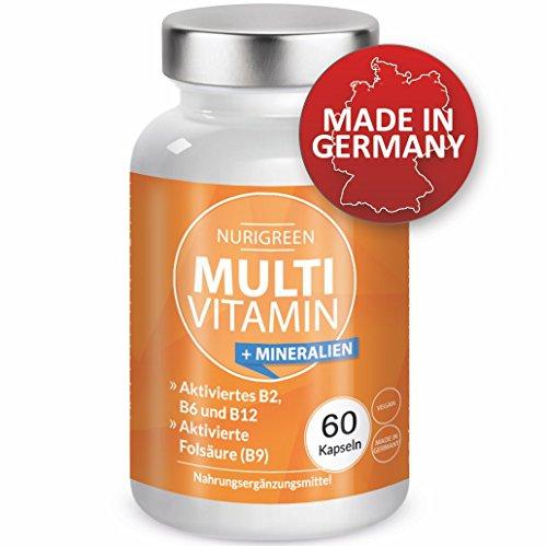 Multivitamin A-Z Komplex und Mineralstoffe hochdosiert - Multimineral Tabletten - Monats-Vitamin-Kur - vegan & vegetarisch - Aktiviertes Vitamin B2, B6 und B12, Aktivierte Folsäure, Mineralien - 60 Kapseln -