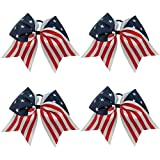 CN 4th of July Hair Bows Patriotic Cheer Bows American Flag Hair Bows for Cheerleading Girls