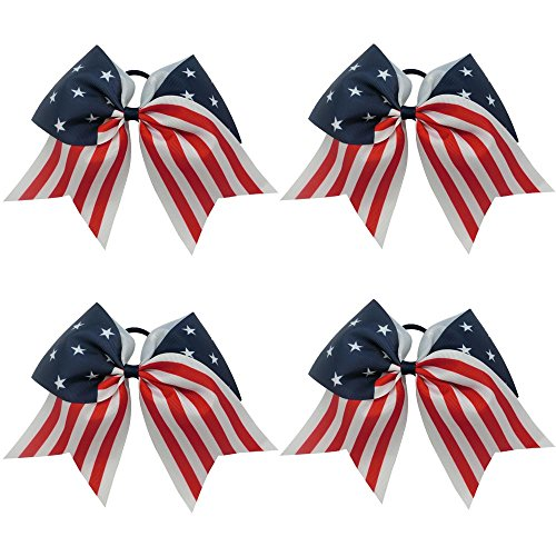 CN 4th of July Hair Bows Patriotic Cheerleader Hair Bows American Flag Hair Bows for Cheerleading Girls -
