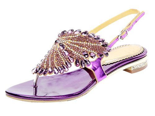 Honeystore Women's Flat Sandals Butterfly Rhinestone Patern Slingback Thong Sandals Purple 7 (Butterfly Back Thong)