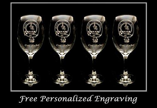 (MacKay Family Scottish Clan Crest - Set of 4, Clear Wine Glass 18oz - Free Personalized Engraving, Large Wine Glass, Celtic Decor, Scottish Wedding)