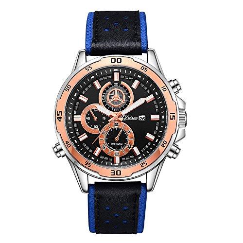 Men 's Casual Watch, N553 Clearance Fashion Man' s Dress Triple Mini Dials Analog Quartz Wrist Watch on Sale Business Watch PU Leather Band Strap by St.Dona (Fashionable Pu Band)
