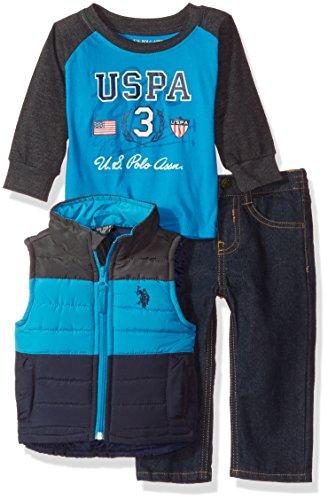 U.S. Polo Assn. Baby Boys' Bubble Vest, Hangdown and Denim Jean, Turquoise, 24M