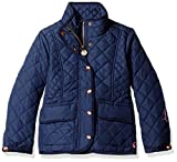 Joules Little Girls' Newdale Quilted Coat, French Navy, 6
