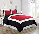 Black and White King Comforter Set 3 piece BURGUNDY RED / BLACK / WHITE Goose Down Alternative Color Block Comforter set, KING / CAL KING size Microfiber bedding, Includes 1 Comforter and 2 Shams