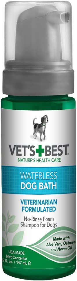 Vet's Best Waterless Dog Bath | No Rinse Dry Shampoo for Dogs | Natural Formula Refreshes Coat and Controls Odor Between Baths | 5 Ounces