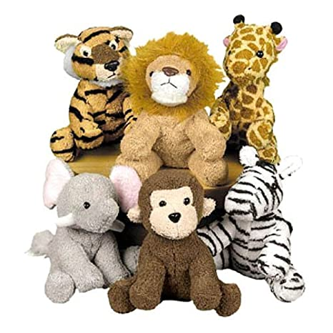 1853d7e46fa Amazon.com  Fun Express Assortment Suede Jungle Animal (Set of 12)(Discontinued  by manufacturer)  Toys   Games