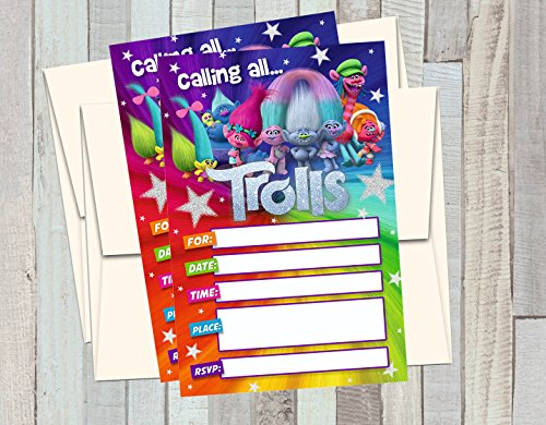 12 TROLLS Birthday Invitations (12 5x7in Cards, 12 matching white envelopes)