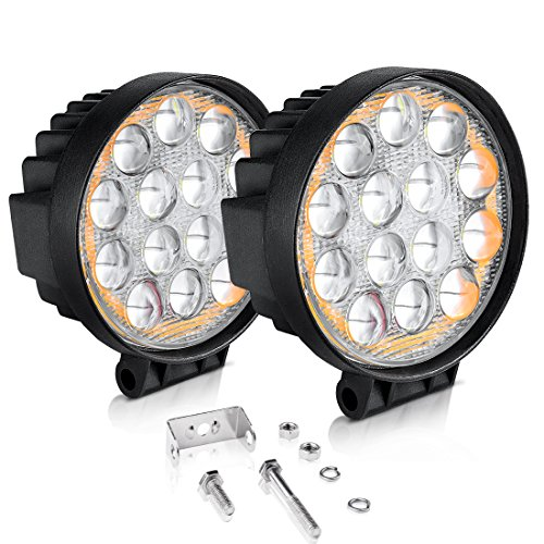 "AUTOSAVER88 5D LED Pods Light Bar, Round 5"" 60W 6000LM Spot Off Road Super Bright Waterproof 4X4 Driving Running Lights with Amber Fog Lights Circle, 2 Year Warranty ()"