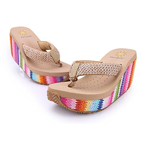CYBLING Womens Slipper Wedge Heel Slipper Womens Fashion Non-Skid Flip-Flop Dress Bohemian Sandals Rainbow Color B07CG3M6J1 Parent 247d4e