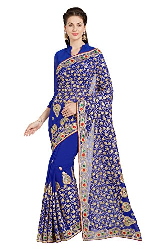 Women's Bridal Wedding Saree Mirchi Fashion Indian Sari(5231_Royal Blue)