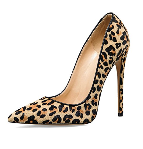Women's High Heels PU Leather Pointed Toe Stiletto(Leopard) - 3