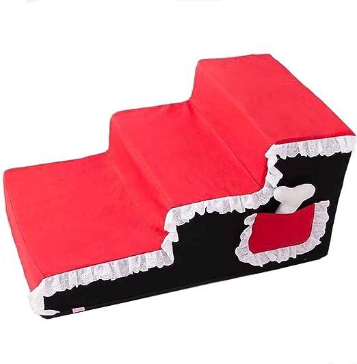 February Spring Breeze Escalera de escaleras para Perros de 3 Pasos para sofá Cama Alto, Funda Lavable, cojín para peldaños de Mascotas, 67 × 40 × 33 cm (Color: Rojo): Amazon.es: Hogar