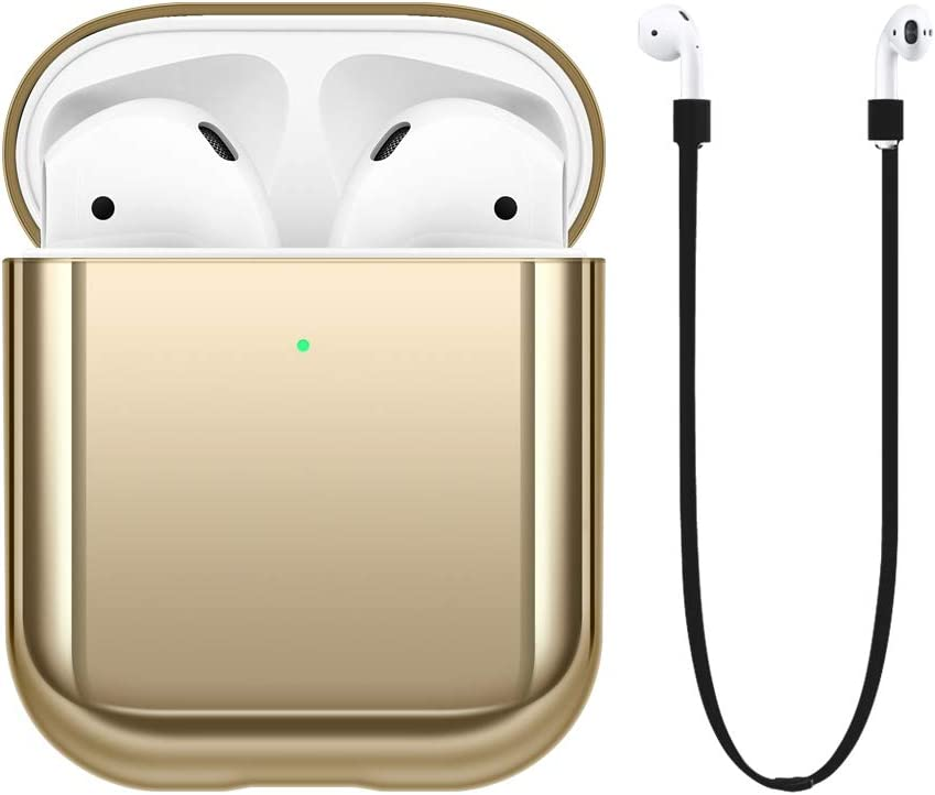 FRTMA Compatible with Apple AirPods 2nd Generation Case Cover [Front LED Visible] Hard PC Case & Anti-Lost Strap(Champagne Gold)