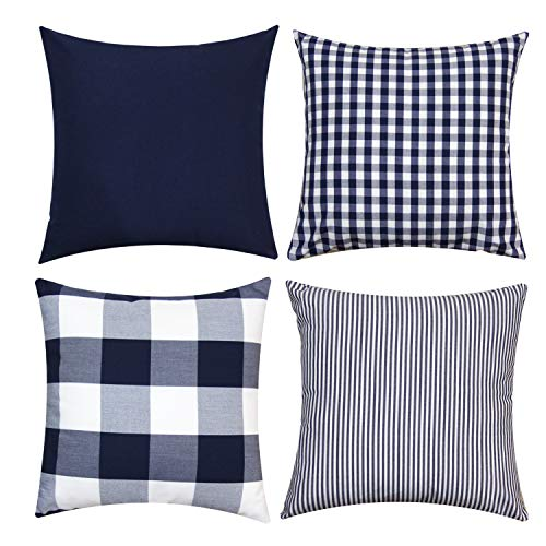 JOJUSIS Farmhouse Buffalo Check Plaid Throw Pillow Covers Blue Stripe Lattice Cotton Linen Set Cushion Cases for Sofa Bedroom Car Couch 18 x 18 Inch Blue and White