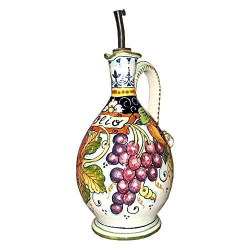 CERAMICHE D'ARTE PARRINI - Italian Ceramic Art Pottery Oil Cruet Bottle Decorated Grape Hand Painted Made in ITALY Tuscan