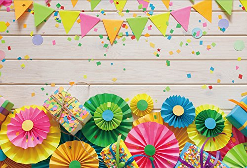 Laeacco Colored Flags Garland Background Rose and Rosette 5x3ft Abstract Paper Flowers Photography Backdrop Wooden Wall Photo Background Realistic Decoration Birthday Party Wedding -