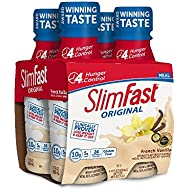 Slim Fast Original weight loss Meal Replacement RTD shakes with 10g of protein and 4g of fiber plus 24 Vitamins and Minerals per serving, French Vanilla, 20 Count