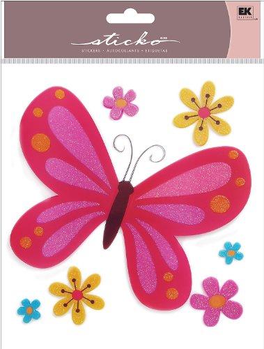 EK Success Brands Sticko Layered Acetate Sticker, Pink Butterfly