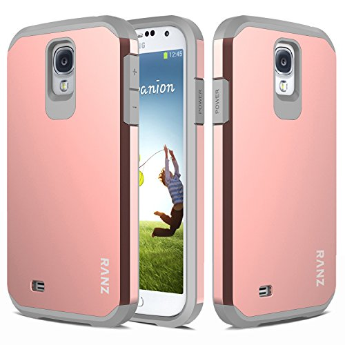 S4 Case, Galaxy S4 Case, RANZ Grey with Rose Gold Hard Impact Dual Layer Shockproof Bumper Case For Samsung Galaxy S4 (i9500)