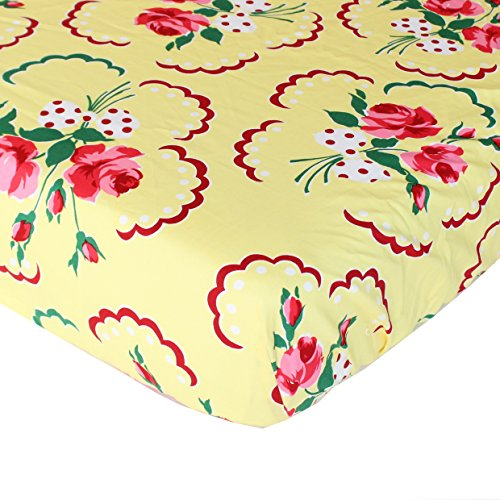 Retro Floral Yellow and Pink Fitted Crib Sheet - Fits Standard Crib Mattresses and Daybeds - Soft Premium (Michael Cotton Fitted Sheet)