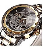 SEWOR Men's Classic Luxury Skeleton Mechanical Hand Wind Stainless Steel Automatic Watch