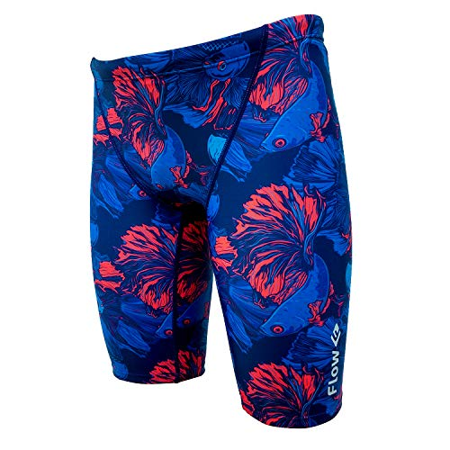 Flow Funky Swim Jammers - Jammer Swimming Shorts in Boys Size 24 to 30 with Eight Radical Swimsuit Designs to Choose from (River Raid, 24 (23
