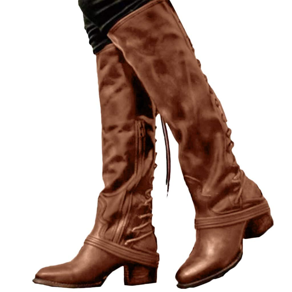 Pongfunsy Women Wide Calf Boots Women Winter High Heel Long Boots Ladies Bandage Knee High Boots Western Cowboy Boots Brown by Pongfunsy