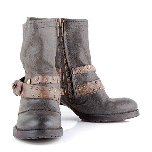 Felmini - Chaussures Femme - Tomber en amour avec Susana P625 - Bottes Cowboy & Biker - Leather Véritable - Noir
