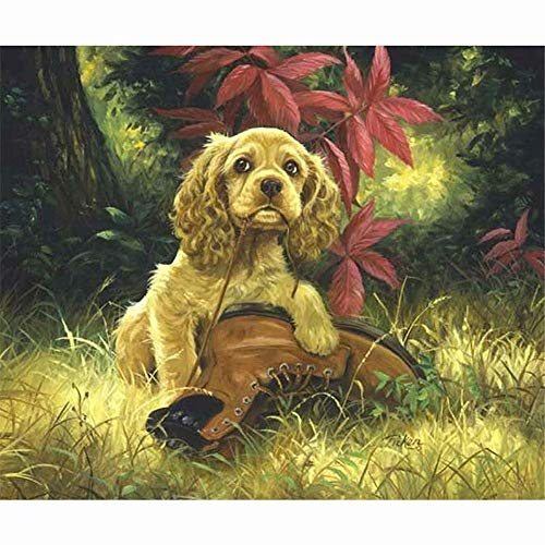 5D Diamond Painting Kits Full Drill Diamond Embroidery - Golden Retriever Dog And Shoes,19.7 X 27.6 Inch(Frameless)