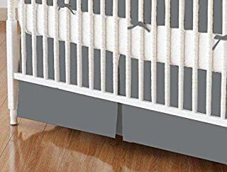 product image for SheetWorld 100% Cotton Percale Crib Skirt 28 x 52, Dark Grey Woven, Made in USA
