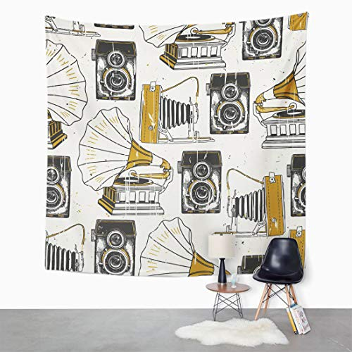 (Semtomn Tapestry Wall Hanging Pattern Retro Camera and Record Player Vinyl Antique Box 50