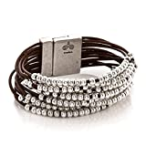 Trades by Haim Shahar Candice Leather Bracelet handmade in Spain bestseller designer genuine Spanish leather sterling silver plated beads and magnetic closure