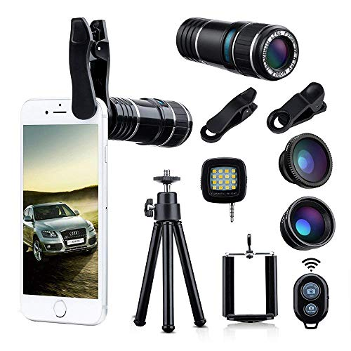 Wonyered 4-in-1 Cell Phone Camera Lens 12X Telephoto Lens 180 Degree Fisheye Lens 0.65 Wide Angle Lens Micro Lens with Tripod and Clips for iPhone Samsung Galaxy Android and All Smartphones by Wonyered