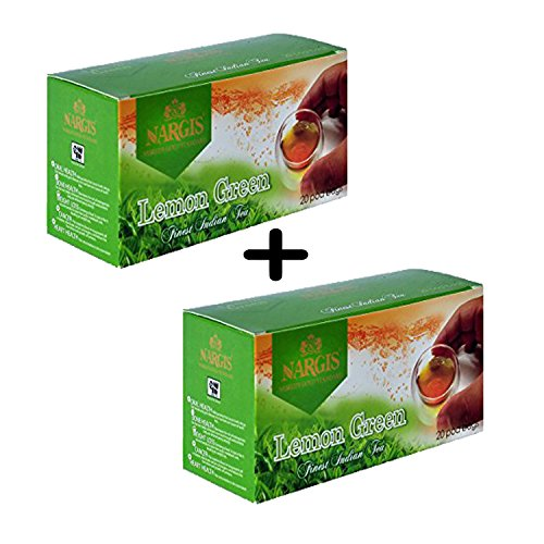 Nargis Green Tea Lemon Flavor 20+20 Round Pod Bags Fresh Organic Stress Relieving Door Step Delivery. Makes 40 Cups. - Keurig Sugar Free Coffee