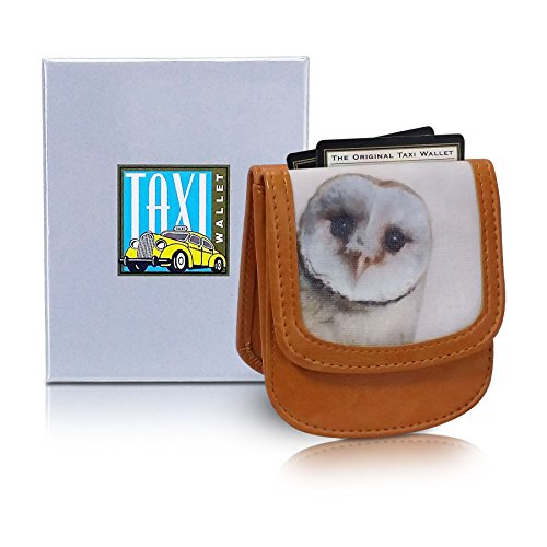 TAXI WALLET Barn Owl Small Folding VEGAN Minimalist Card Coin Front Pocket Wallet for Men & Women