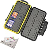 Deyard K020 Waterproof Memory Card Case Shockproof Memory Card Carrying Case Protector Box: 24 Slots for 12 SDHC/SDXC Cards and 12 Micro SD Cards - Upgraded Version with Deyard Superfine Fiber Cloth