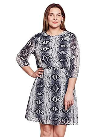 f104e36aa6c oxolloxo Plus Size Women Round Neck Grey Shift Dress 3 4th Sleeves ...