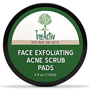 TreeActiv Face Exfoliating Acne Scrub Pads | Best Natural Blackhead Clearing Treatment | Safely Extracts and Removes Blackheads | Prevents Future Breakouts | Men Women Teens | 4 Ounce (12 Pads)