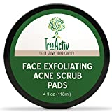 TreeActiv Face Exfoliating Acne Scrub Pads | Best Natural Blackhead Clearing Treatment |