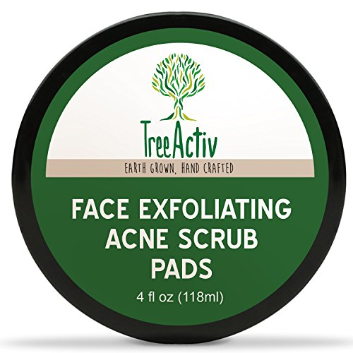 TreeActiv Face Exfoliating Acne Scrub Pads, Powerful Natural Blackhead Clearing Treatment, Safely Extracts and Removes Blackheads, Prevents Future Breakouts, Men Women Teens (4 oz)