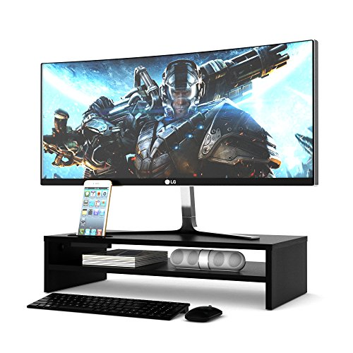 1homefurnit Wood Monitor Stand Riser Desk Storage Organizer, Speaker TV Laptop Printer Stand with Cellphone Holder and Cable Management, 21.3 inch 2 Tiers Shelves Black