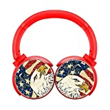 Bald Eagle American Flag Red Bluetooth Headphone Wireless Gaming Earphone Portable Hi-Fi Stereo Headset Adjustable Over Ear Headphones Noise Cancelling High Sound Earbuds Gift