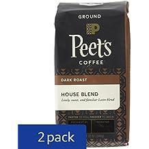 Peet's Coffee House Blend Ground, Dark Roast, 12oz (Pack of 2) bag (Packaging may vary)